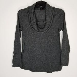 RAFAELLA Womens Gray Cowl Neck Sweater